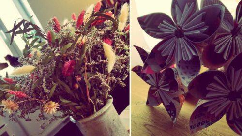 Idée de cadeau :  Fleurs en papier et bouquet de fleurs séchées